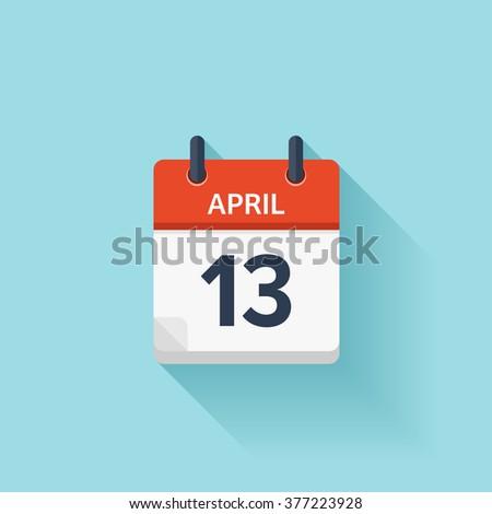 april 13 calendar iconvector