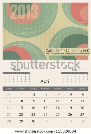 April. 2013 Calendar. Optima fonts used. A3