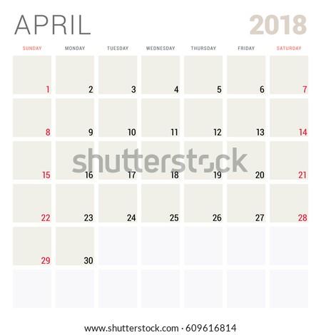 April 2018. Calendar planner design template. Week starts on Sunday. Stationery design