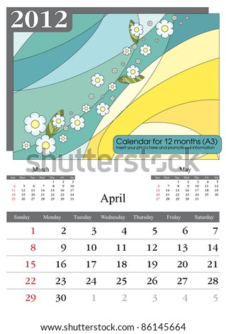 April. 2012 Calendar. Times New Roman and Garamond fonts used. A3