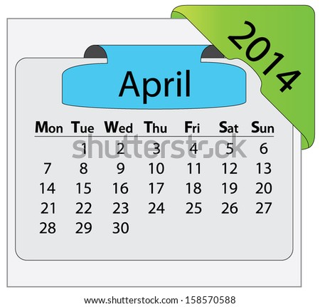 April 2014 calendar with colorful label. Abstract editable isolated Monday start vector calendar design.