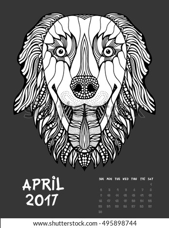 April 2017 calendar Zendoodle style, start on sunday, Funny Dog. Patterned zentangle, black and white. For Print anti-stress coloring books for different ages peoples. set #3