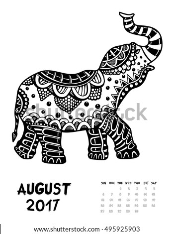 April 2017 calendar Zendoodle style, start on sunday, Funny Elephant. Patterned zentangle, black and white. For Print anti-stress coloring books for different ages peoples. set #2
