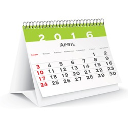 April 2016 desk calendar - vector illustration