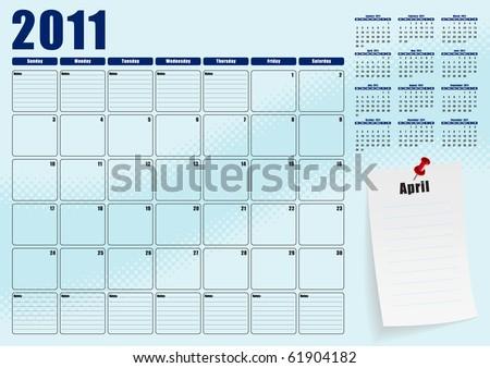 April desk planner for 2011