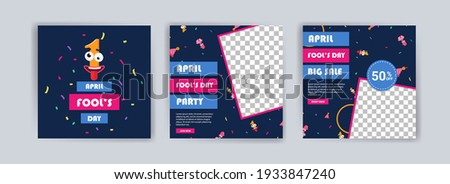 April fool's day. April fool's day party. April fool's day sale. Social media templates for april fool's day.