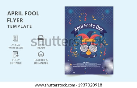 April fool's day. April fool's day party flyer template. Social media templates for April fool's day. poster, promotion, leaflet, flyer, article. flyer template.