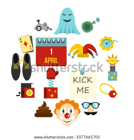 April fools day icons set in flat style. Prank playful actions set collection vector illustration #1077665705