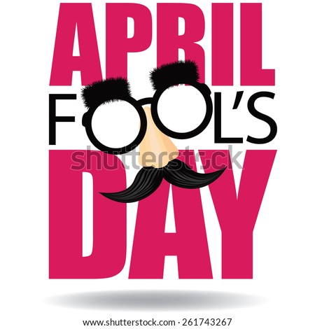April Fools Day text and funny glasses EPS 10 vector illustration for greeting card, ad, promotion, poster, flier, blog, article, marketing, signage, email Foto d'archivio ©