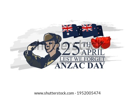 April 25, 'Lest We Forget'. Happy Anzac Day Vector Illustration. Suitable for greeting card, poster and banner.  Foto stock ©
