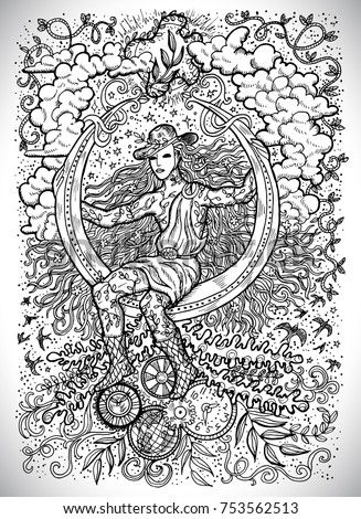 Stock Photo April month graphic concept. Hand drawn engraved fantasy illustration. Young magician of Spring sitting on the moon against the background of plants, leaves and steampunk mechanism