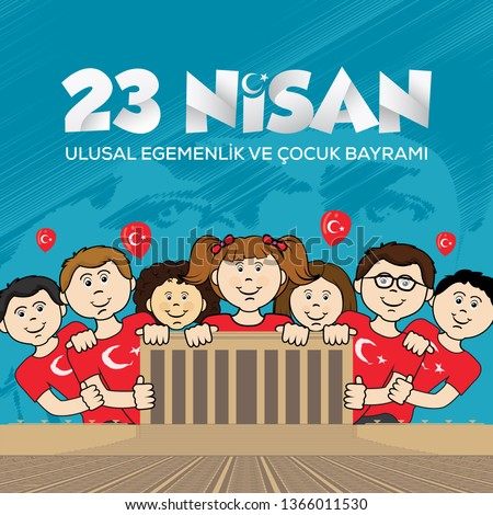 April 23 National Sovereignty and Children's Day, vector illustration