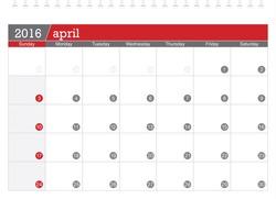 April 2016 planning calendar