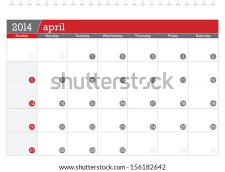 april 2014 planning calendar