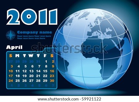April - the Earth blue calendar for 2011, weeks starts on Sunday