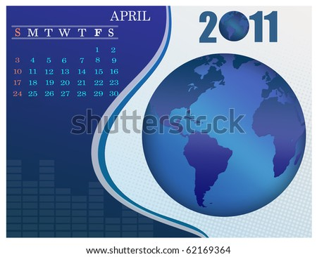 April - the Earth blue calendar for 2011, weeks starts on Sunday. Business Calendar.