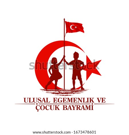 April 23 Turkish national ataturk festival banner cocuk baryrami 23 nisan, tr: April 23 Turkish National Sovereignty and Children's Day, friendship kids silhouette with Turkey flag isolated on white