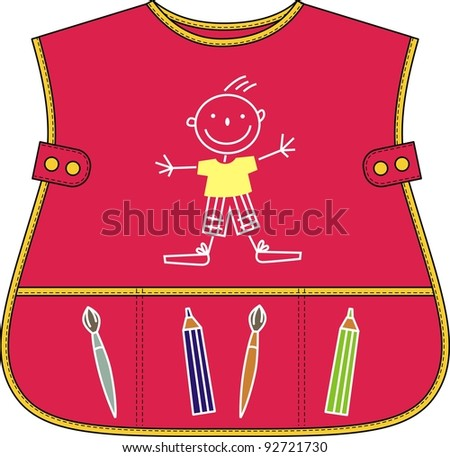 Apron for the child with pockets and amusing drawings
