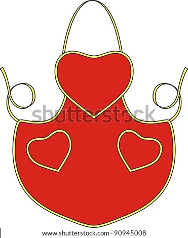 Apron for the waitress with pockets in the form of heart - stock vector