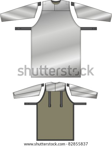 Apron with a reflecting fabric and protective oversleeves