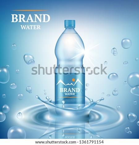 Aqua advertizing. Natural mineral liquid water drops commercial poster merchandising plastic bottle splashes vector realistic template