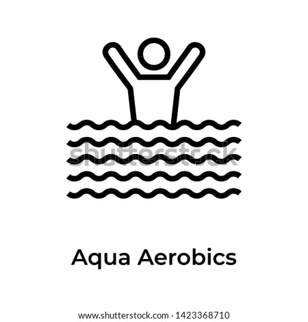 Aqua aerobics icon in line design.