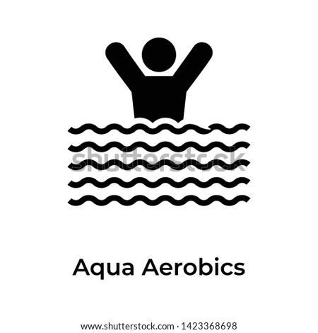 Aqua aerobics icon in solid design.