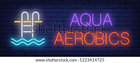 Aqua aerobics neon sign. Glowing inscription with pool stair and water on dark blue brick background. Can be used for fitness, aqua gym, pool aerobics, advertisement
