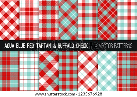 stock-vector-aqua-blue-and-red-tartan-and-buffalo-check-plaid-vector-patterns-christmas-backgrounds-hipster