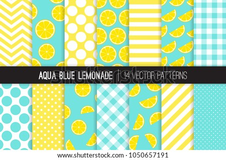Aqua Blue Lemonade Vector Patterns. Yellow Lemon Halves and Slices, Chevron, Stripes, Polka Dots and Gingham. Lemonade Stand Summer Party Decor. Girly Mod Backgrounds. Pattern Tile Swatches Included.