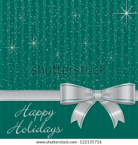 Aqua bow and stars Christmas card in vector format.