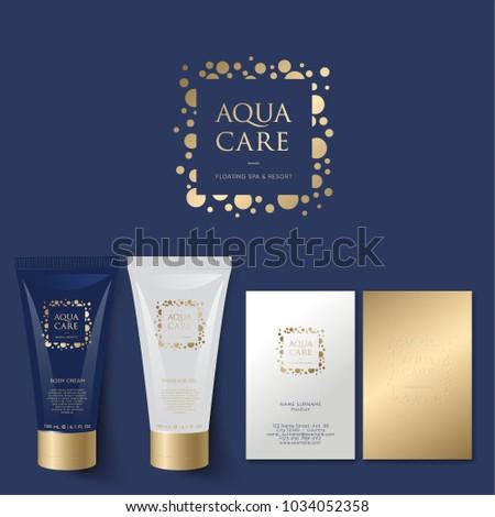 Aqua Care logo. Spa emblem. Mineral natural cosmetics logo. Identity. Tubes and business card.