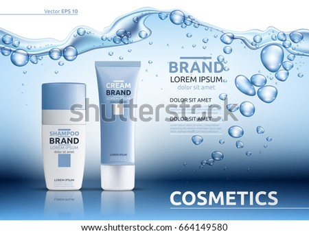 Aqua Cream Moisturizing cosmetic ads template. Hydrating facial lotion. Mockup 3D Realistic illustration. Sparkling water drops over blue