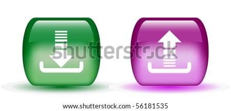 Aqua Download & Upload Sign Icons