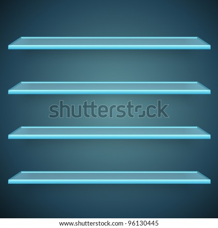 aqua glass shelves
