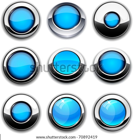 Aqua high-detailed buttons in different styles.