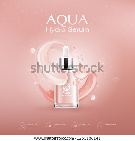 Aqua Hydro Serum Collagen and Vitamin Vector Background Template for Skin Care Cosmetic Product.
