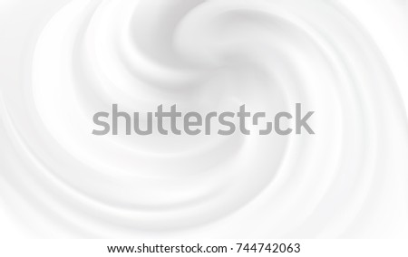 Aqua luxury light silver fond of soft shiny swirling rippled curvy whipped sour kefir. Closeup view with space for text in glowing center in middle of eddy motion