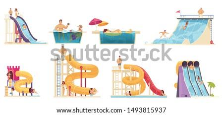 Aqua park visitors enjoying attractions 8 comics cartoon compositions with water  slides family bath vector illustration