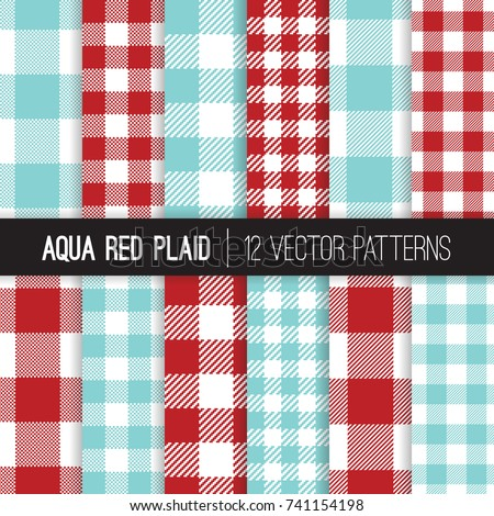 aqua red gingham and checks