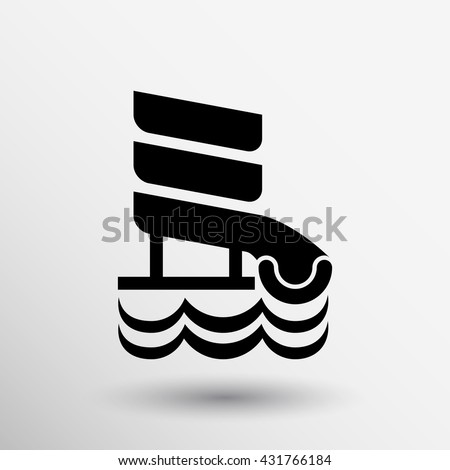 aqua slide icon aquapark wave.