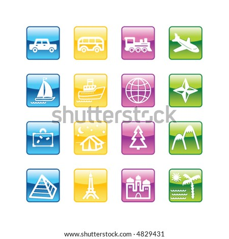 Aqua travel icons. Vector file has layers, all icons in four versions are included.