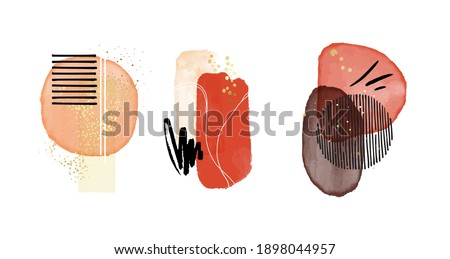 Aquarelle classic shapes. Red contrast vector Scandinavian decorative cover stain painting, watercolor blobs, circle frames, logo template, social media decoration. Scandinavian minimalistic shapes