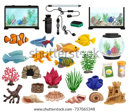 aquaristics cartoon set with