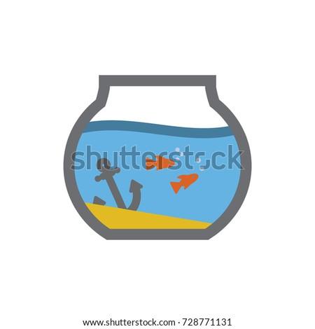 aquarium fish bowl vector icon