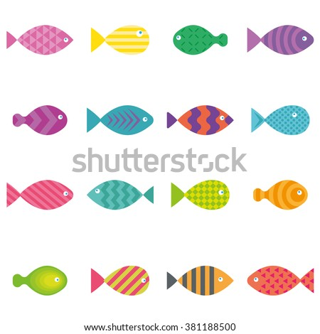 aquarium fish icons set vector