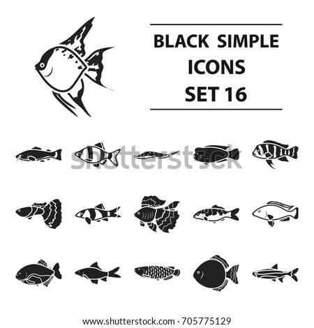 aquarium fish set icons in