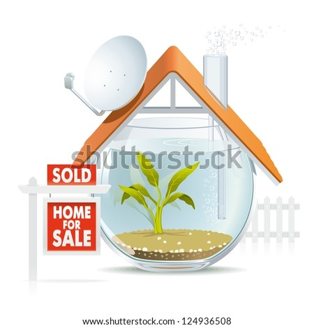 Aquarium home sold. Illustration of funny home as cozy aquarium for fish to be sold.