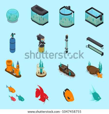 aquarium icons set on blue