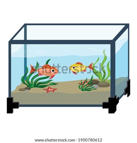 Aquarium in room icon. Cartoon of aquarium in room vector icon for web design isolated on white background Сток-фото ©